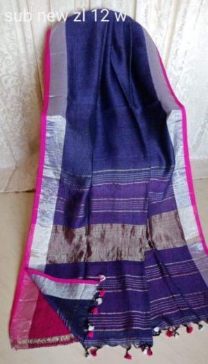 Blue Handwoven Organic Linen Saree with Pink Blouse